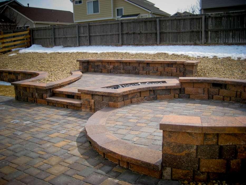 multi level patio designs installed multi level concrete brick paver patios planters fire pit steps and - Multi Level Patio Designs